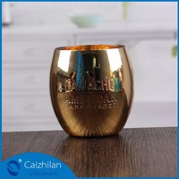 gold stained paper glass candle holders