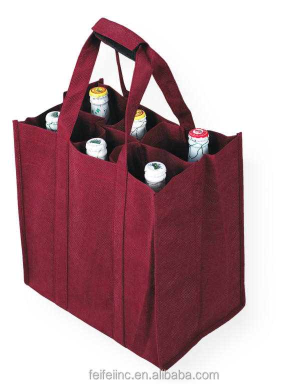 Laminated pp non woven wine bottle bags with 6 bottles
