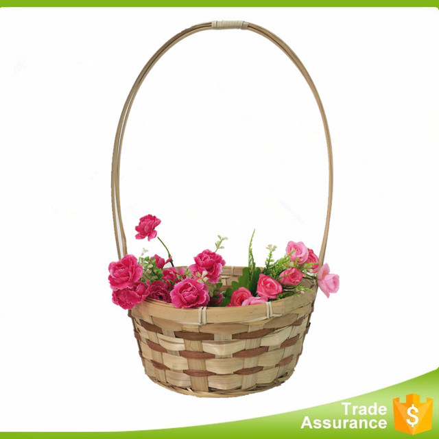Cheap flower, fruit and vegetable bamboo basket with handle
