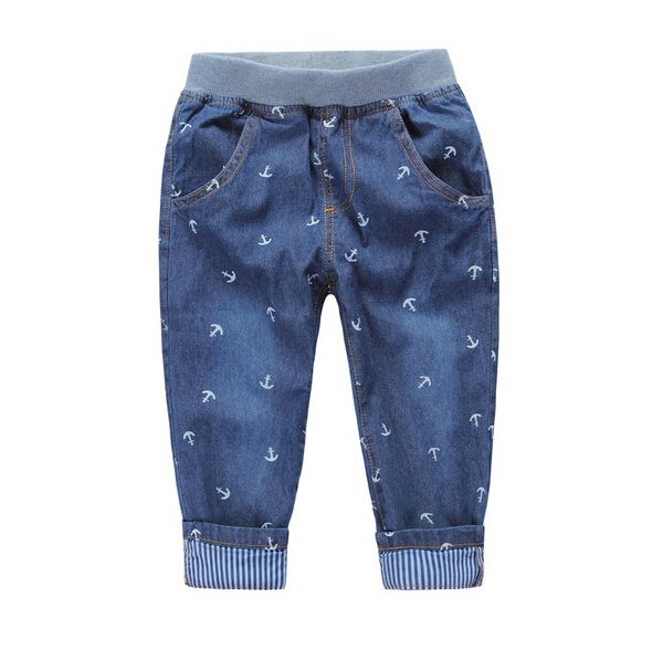Retail 1PC Brand Fashion New 2015 Spring Autumn Blue Printing Kids Jeans Boys Children Baby Boy Jeans 2-10Y CC2112W