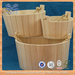 Antique Unfinished Cheap Wholesale Large Wood Bucket For Sale
