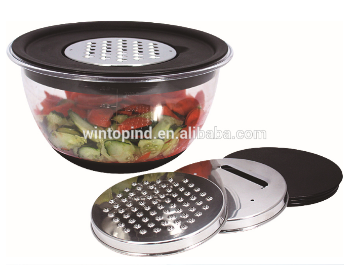2 PCS Plastic Mixing Bowl with Non-skid base and Lid and grater