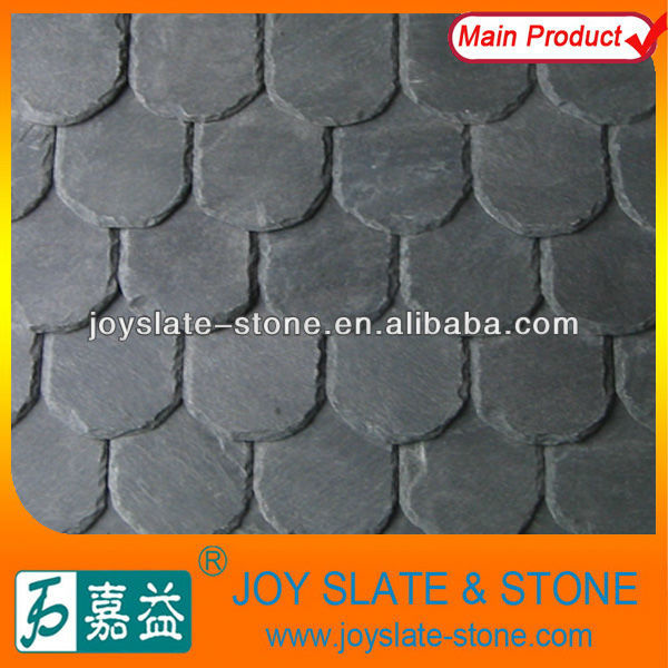 French round style grey roofing slate tile