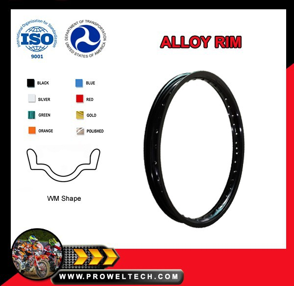 Motorcycle parts: WM 1.60x21 Alloy Rim for CRF450R/X and YZ250F/450F etc