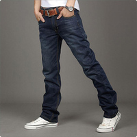 2014 latest fashion Slim Fit Jeans Straight Button closure Korean style Leg Trousers plus Size 18853