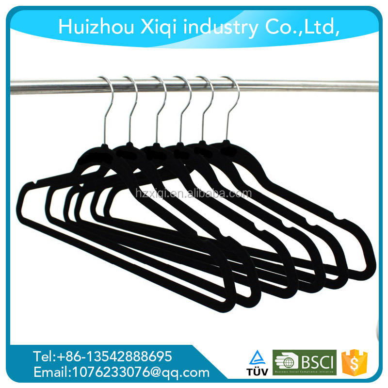 Black velvet hanger Wholesale Plastic Non-Slip Colorful Velvet Flocked Clothes Hanger