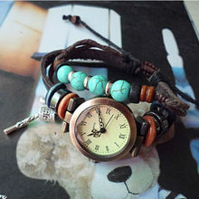 western ladies adjustable leather wrist watches with charms pendant