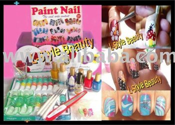 Nail Art Painting Set + VCD Training Paint,Sponge,Dot,Marble 70 designs
