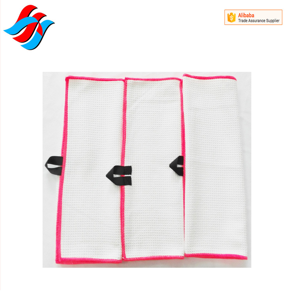 China Supplier Custom Microfiber Waffle Weave Golf Towel With Hook grommet