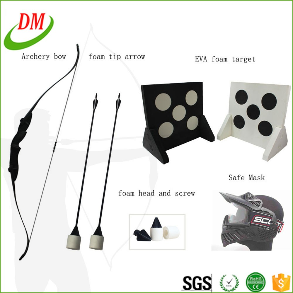 tag archery arrow and recurve bow with foam tipped arrows