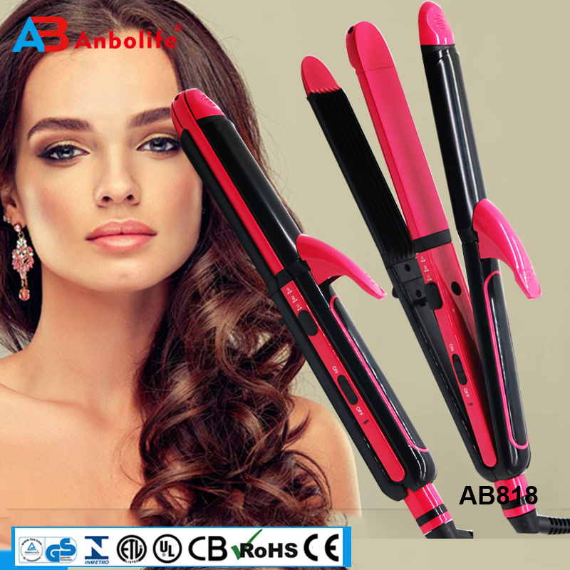 Anbo OEM Brand Design 3in1 Multi-Functional Salon Collection Fast PTC/Ceramic Curling Coating Flat Iron Hair Straightener/Curler