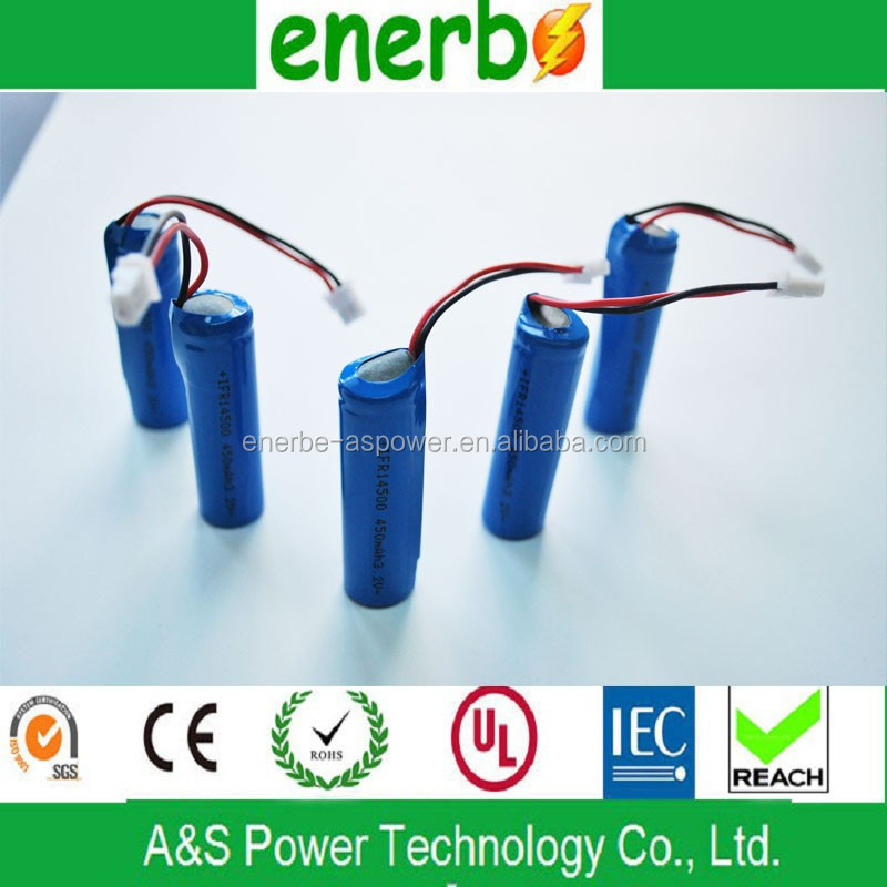 Recharge battery for toy car 14500 LiFePO4 3.2v 450mAh with low inner resistance and high efficiency