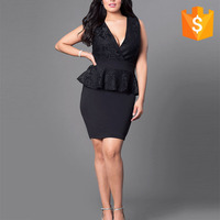 Latest black party v-neck lotus leaf lace dress suits designs for fat girls