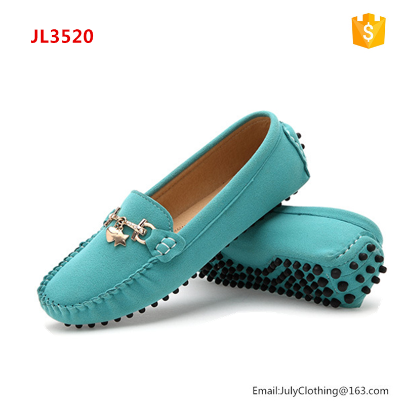 2017 China Wholesale Fancy Casual Office Women Ladies Shoes Leather Suede Loafers Shoes