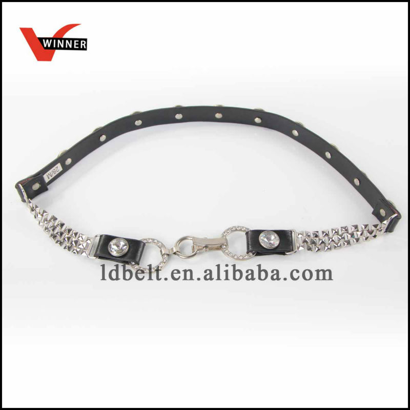 Good quality fancy skinny rhinestone chain PU Belt