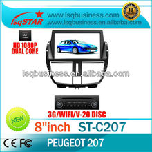 LSQstar S100 car dvd player for peugeot 207 2013 with wifi/3G/gps/20 v-cdc/canbus/ipod on-sale!hot!drive your life!
