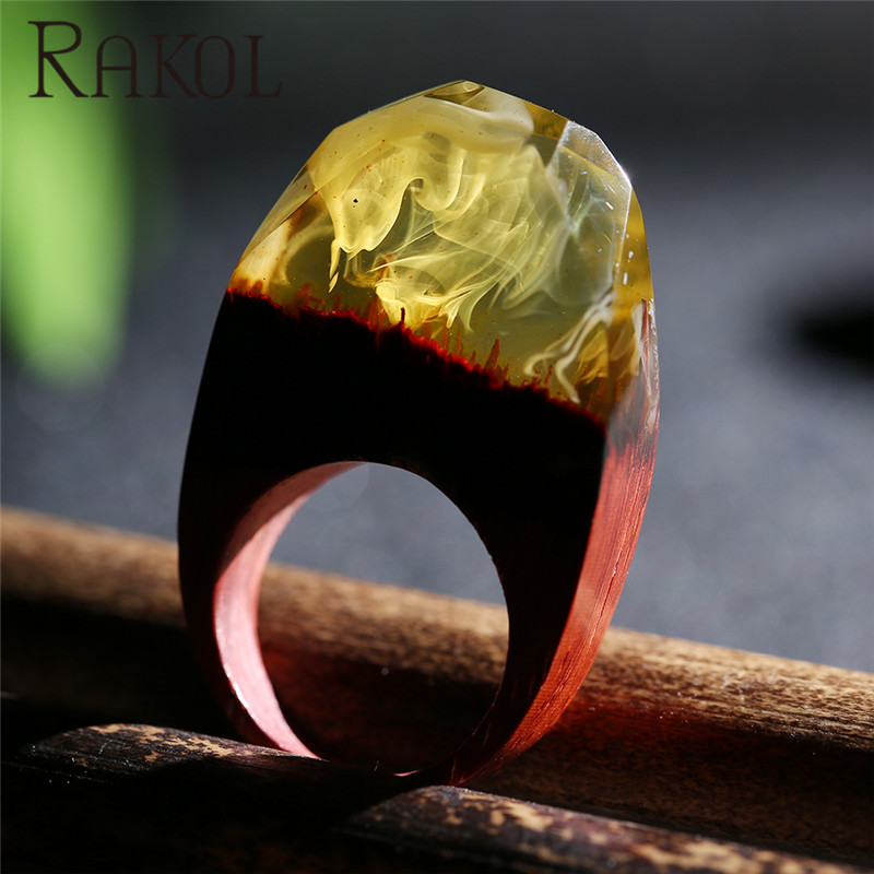 New coming ring psychedelic fog yellow resin pear wood ring