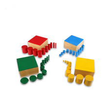 Geometric wooden puzzles montessori toys Knobless Cylinders Set of 4 kids educational games
