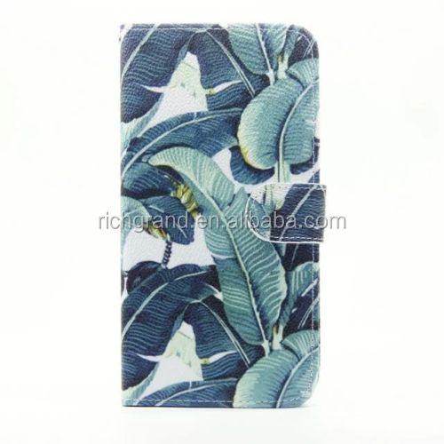 Banana leaves Leather Flip Stand Card Holder Wallet Case Cover for iphone 5s/SE/6/6s/6 plus/7/7 plus