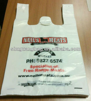 Custom print plastic t-shirt shopping bags for supermarket