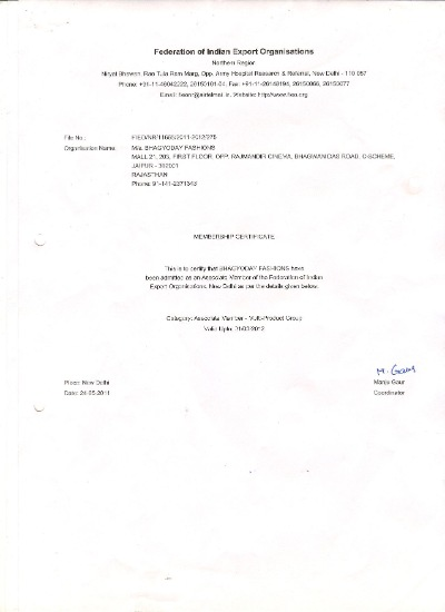 Federation of Indian Export Organisations Certificate