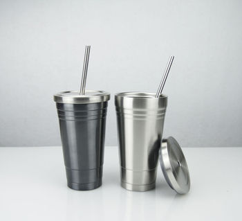 High quality stainless steel straw cups stainless steel coffee cups double layer with straw cups custom logo