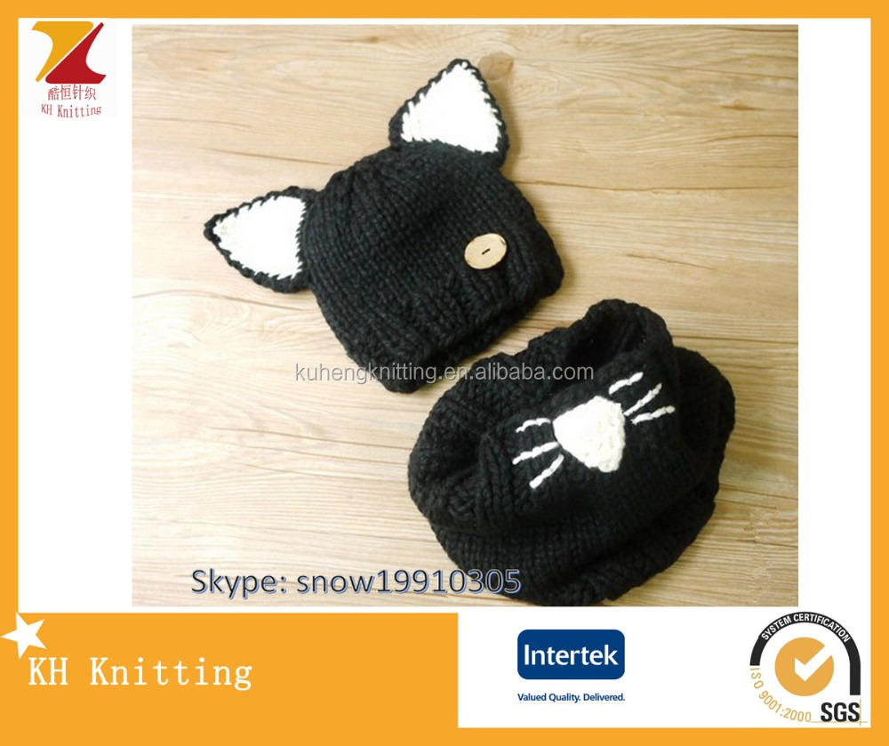 Toddler kids cat crochet knitted hat scarves gloves set for sale