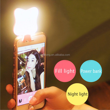 Multi function rechargeable led selfie fill light enhancing photography + power bank 500mah for android phone