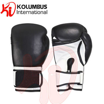 Genuine Leather Boxing Gloves Filled With Pre Shaped Mold, Black White Sparring Gloves Available In All Sizes, PayPal Accepted