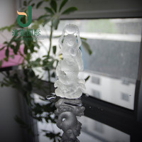 Wholesale natural clear crystal mermaid hand carved art craft