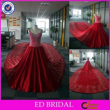 LN121 luxury fully beaded bodice real sample picture classic 6 meters embroidery cathedral/ royal train wedding dresses