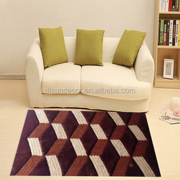 long pile shaggy polyester 3d soundproof carpet floor tiles