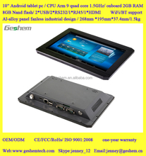 2015 high quality Aluminum alloy fanless industrial Android tablet pc serial port