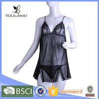 OEM Service Monotonous Black Elasticity Nude Transparent Dress Girl Nighty Sexy Night Ling