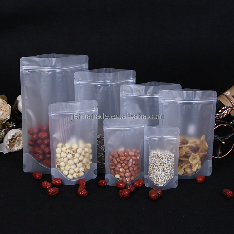 2017 Resealable plastic matte stand up pouch snack packing food packaging bag for nuts