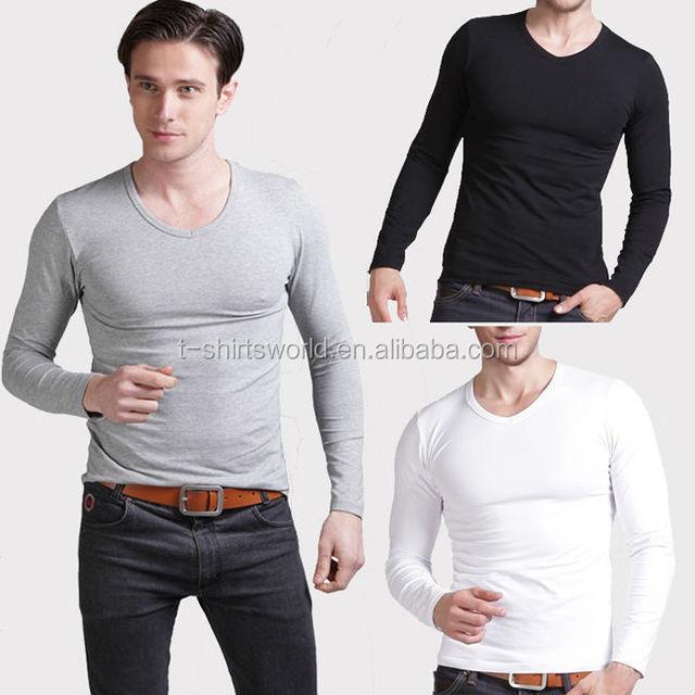 bulk plain white black gray 60% cotton 40% polyester single jersey v neck tight long sleeve t-shirt for man