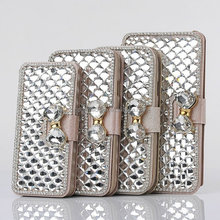 Diamond bling phone case for iPhone 5 5S wallet leather case