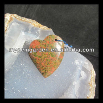 China Gemstone Factory Handmade Unakite Jasper Heart Pendant Bead natural pendant red jasper rough stones