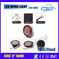 Factory price 160W DC10-30V Off road led work lights for car/motorcycles/jeep