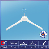 With 15 years experience factory supply white ps plastic clothes hanger with metal hook C110