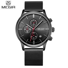 Simple stylish Top Luxury brand MEGIR Watches 2011 men Stainless Steel Mesh strap band Quartz-watch thin Dial Clock man