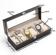 Luxury Watch Box 6 Mens Black Leather Display Glass Top With Metal Lock Jewelry Case Organizer With Glass Lid