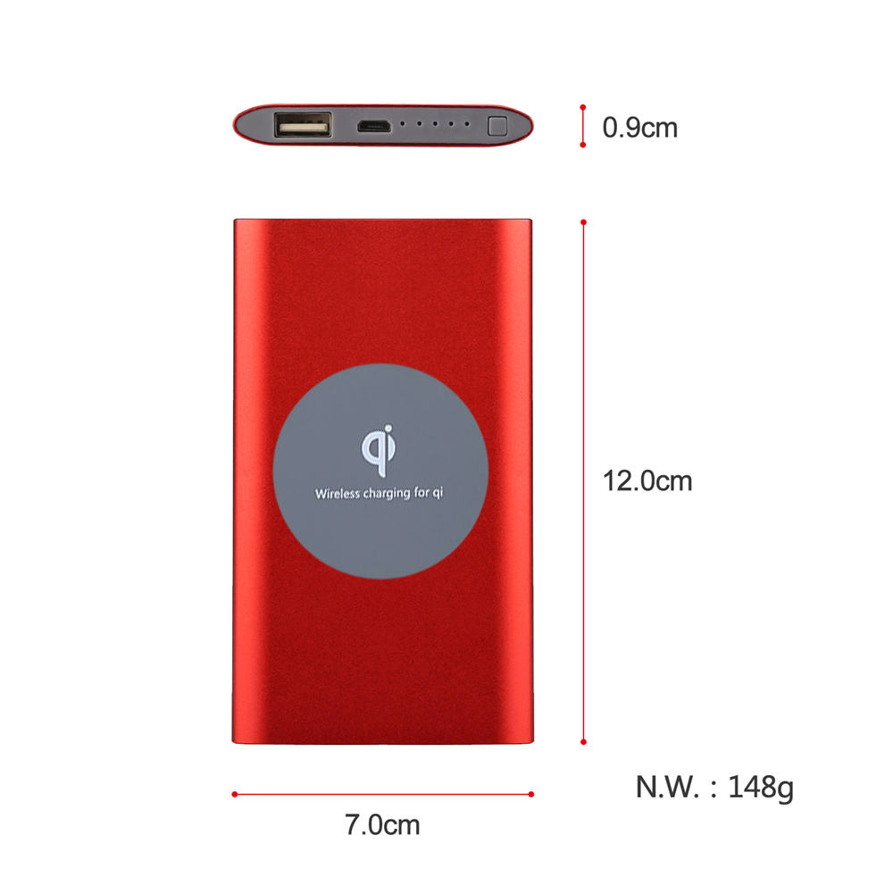 2017 Hot Sell New Style Aluminum Ultra Thin RoHs Built-in Cable Powerbank