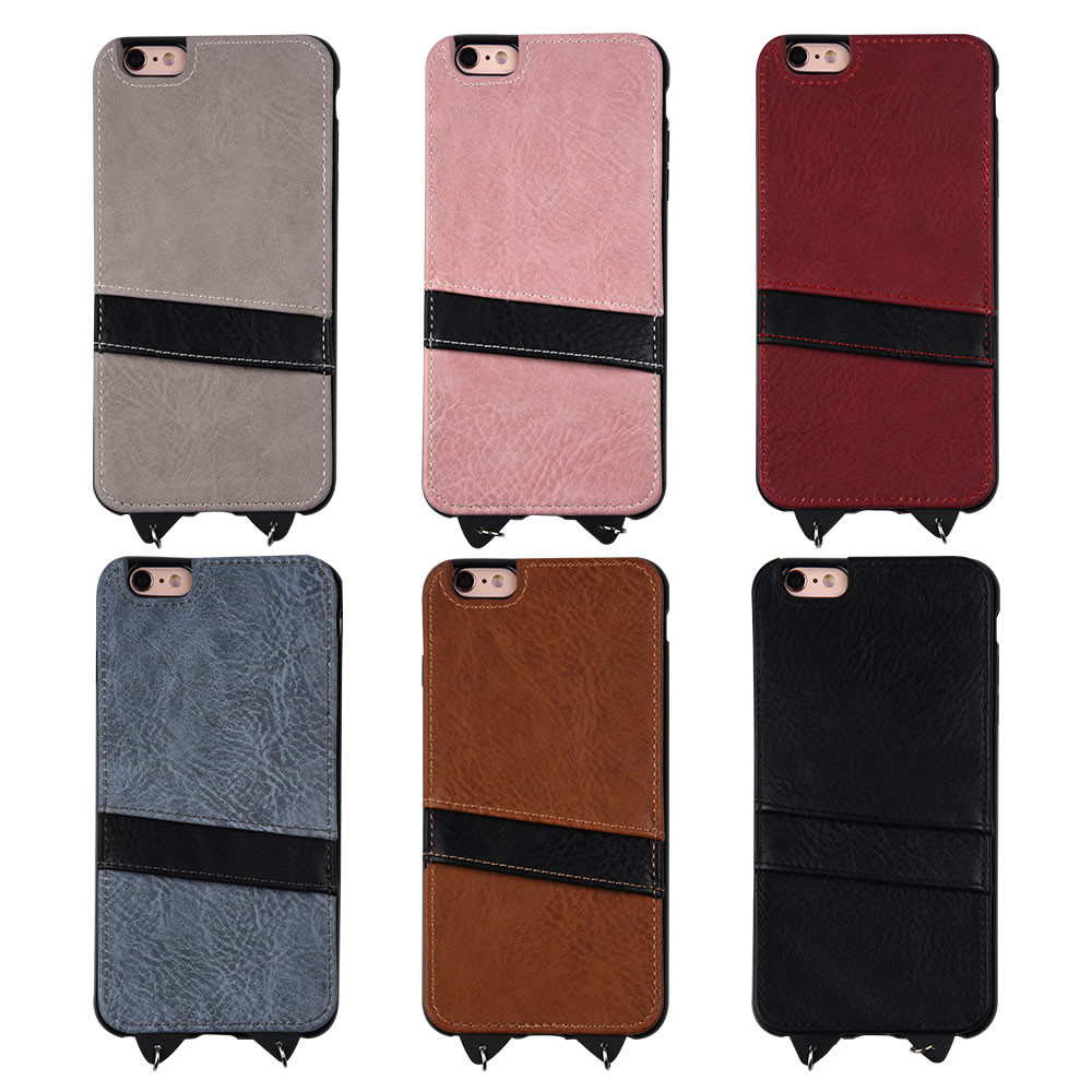 C&T PU Leather Detachable Long Neck Strap ID Card Holder Case Back Cover for Apple iPhone 6plus 5.5 inch