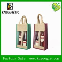 China Manufacturer Double Jute Wine Bottle Bag