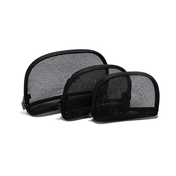 Wholesale mesh toiletry bag black mesh cosmetic bag