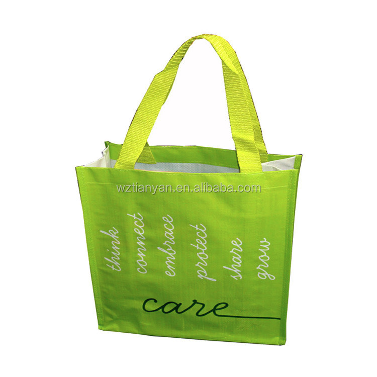 Cheap handle laminated plastic pp woven shopping bag