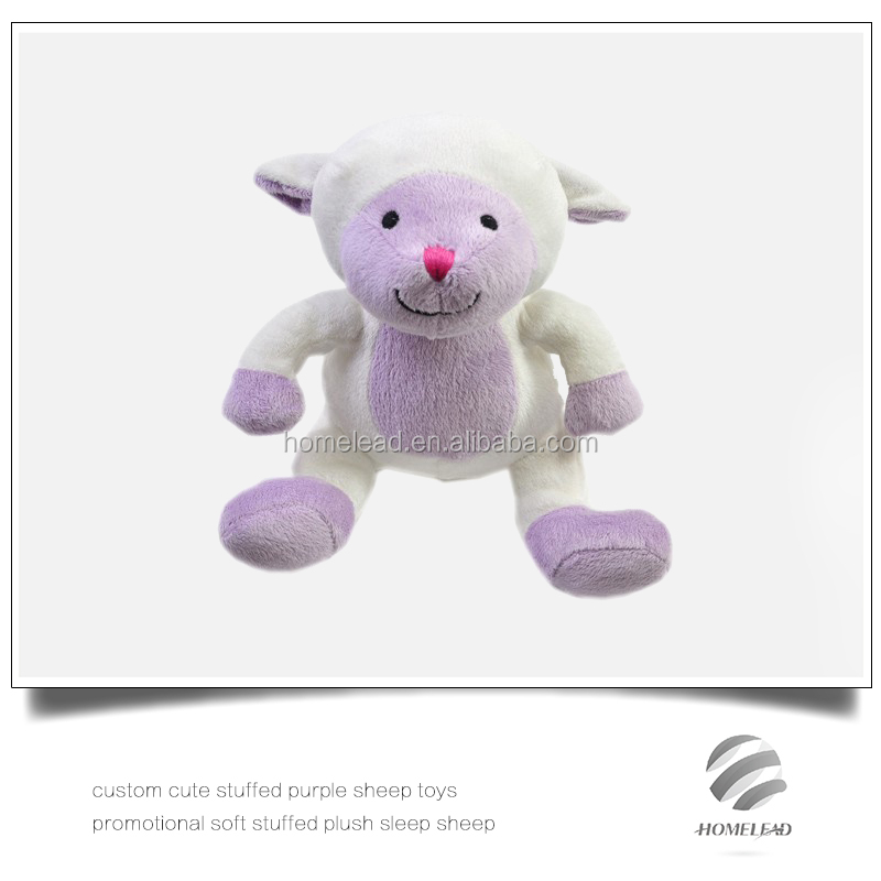 custom cute stuffed purple sheep toys promotional soft stuffed plush sleep sheep