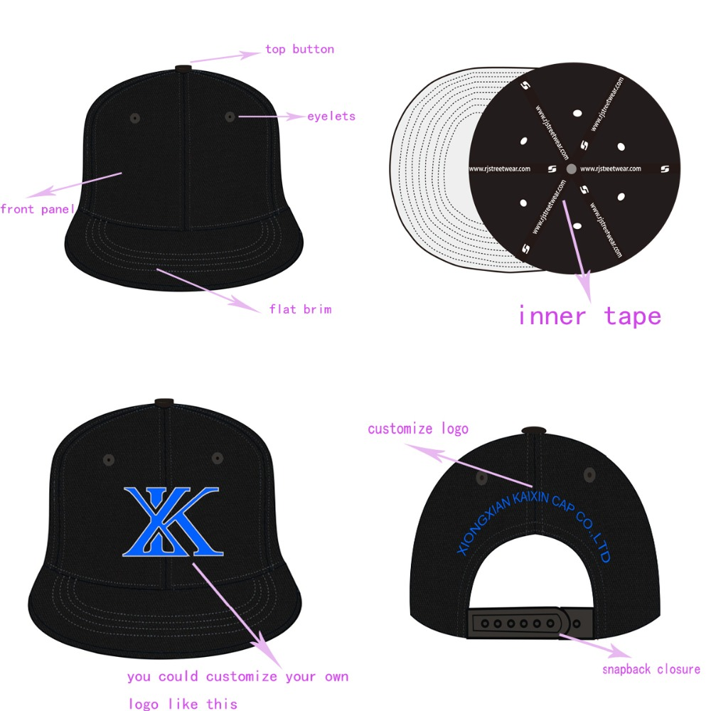 Custom Metal Logo Snapback Cap With Leopard Printed Underbrim ...