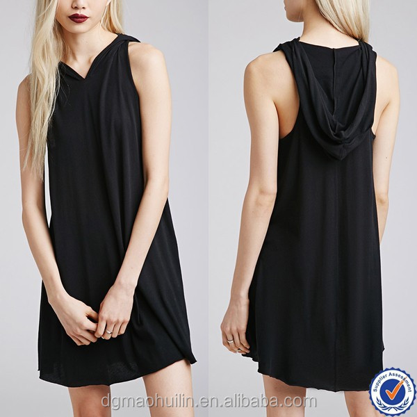 wholesale clothing fashion sexy girls short black mini dresses with hood in ladies casual dress